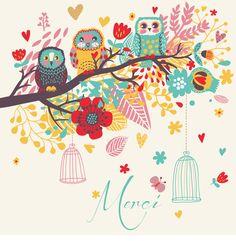 Cartoon bird card background.ai-merci