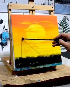 Great art by ID D uyin App art videos sunset painting dailyart sketch drawing Easy Canvas Art, Small Canvas Art, Simple Canvas Paintings, Canvas Painting Sunset, Star Painting, Canvas Canvas, Indian Paintings, Easy Paintings, Watercolor Art