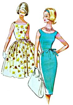1960s Scoop Neck Dress Pattern  McCall's 5813  1961 Vintage Picnic or Cocktail Dress Pattern  MAD MEN  UNCUT, Factory-Folded  Bust 31