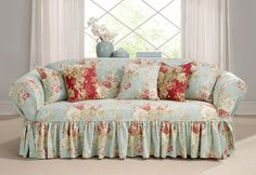 Sure Fit Slipcovers Ballad Bouquet One Piece Slipcovers - Sofa... Love it! My poor husband would hate it....