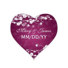 Elegant Wedding Date Cherry Blossom Plum Heart Stickers