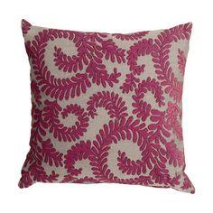 Pillow Decor Brackendale Ferns Pink Throw Pillow