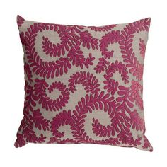 Pillow Decor Brackendale Ferns Pink Throw Pillow
