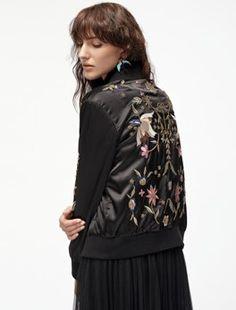 Black Bird Embroidery Zipper Up Jacket -SheIn(Sheinside) Bird Embroidery, Hens Night, Jackets Online, Cool Outfits, High Neck Dress, Zipper, Birds, Shopping, Black