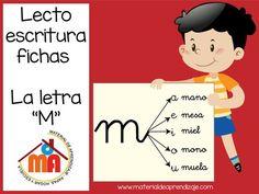 Material de trabajo de lecto-escritura (la letra m), para trabajar con niños de 5 años y primer grado. En este grupo de 17 fichas se trabajará la letra m.