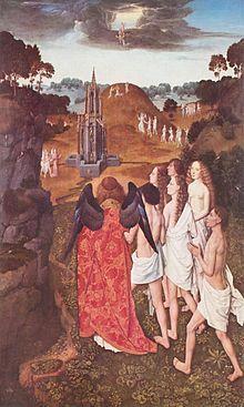 Dirk Bouts : Le chemin du Paradis ou l'Ascension des Elus, Palais des beaux-arts de Lille. - Thierry Bouts peignit après  1457 le triptyque de Munich et le Martyre de St-Erasme. Mais ses oeuvres les plus célèbres datent de la fin de sa vie. Le Retable de la Confrérie du Sacrement (1464 église St Pierre de Louvain) est un triptyque dont le panneau central représente la Cêne, considérée comme l'une des plus belles oeuvres de la peinture flamande.