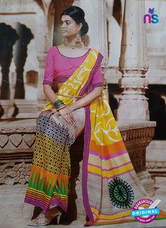 SC 13208 Yellow, Pink and Multicolor Bhagalpuri Saree