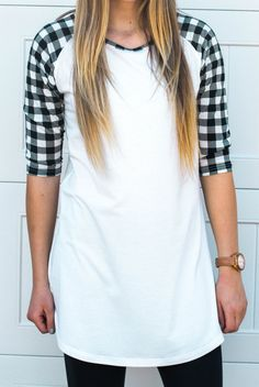 Baseball Tunic/Dress: White with Black Check Sleeves