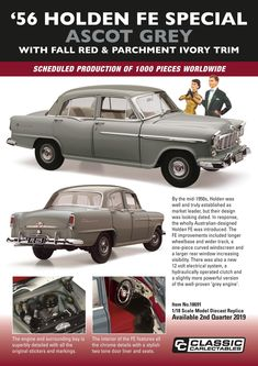 Holden FE Special in Ascot Grey from Classic Carlectables in scale. Model features opening doors, boot and bonnet to reveal detailed engine. Comes with certificate of authenticity. Due quarter of 2019 Ascot, Scale Model, Fes, Car Accessories, Authenticity, Certificate, Engineering, Australia, Doors