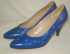 Vintage 80s 90s Bruno Magli Pumps Blue Leather Quilted Studs Cone Heels 6.5 AA #BrunoMagli #PumpsClassics
