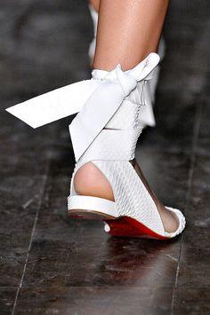 Christian Louboutin white python sandal for Victoria Beckham spring 2012 runway