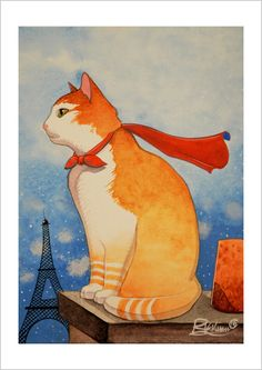 The roofs of Paris cat by RaphaelVavasseur on Etsy https://www.etsy.com/listing/230159358/the-roofs-of-paris-cat