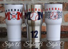 This listing is for BASEBALL DECAL ONLY!  If you would like to purchase this decal on the SIC tumbler, please checkout out my SIC tumbler section of my shop.   HOW TO ORDER: Choose your design selection from dropdown menu. In the NOTES TO SELLER BOX during checkout, please leave me your desired personalization Please follow the format below for your style.   EXAMPLE ORDERS:  Style A The word BASEBALL AND BATS - NAVY MOM / 24 - RED  Style B The word BASEBALL - RED MOM / 12 - NAVY BALL - WHITE…