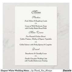 Elegant White Wedding Menu Card Wild Mushroom Soup, Wild Mushrooms, Wedding Dinner Menu, Wedding Menu Cards, Chantilly Cream, Anniversary Quotes, Organic Vegetables, Love Messages, Keep It Cleaner
