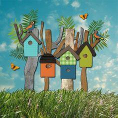 mixed media collage met vogelhuisjes, vogels en vlinders, ontwerp Hilde Reurink