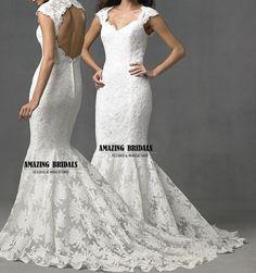 Keyhole back Cap sleeves mermaid lace wedding by amazingbridalscom, $298.00