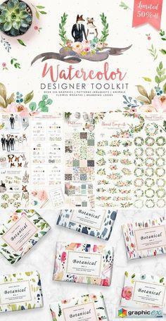 Watercolor Designer Toolkit  stock images