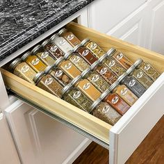 Lynk Professional Medium Spice Rack Tray Drawer Insert Silver - The Spice Rack Tray Drawer Insert organizes all your spices, essential oils, vitamins, nail polish, herbs, medicine, and more. Durable construction with 4 tiers that looks beautiful in kitchen drawers, on pantry shelves and kitchen countertops. Kitchen Cabinet Drawers, Kitchen Drawer Organization, Spice Organization, Diy Kitchen Storage, Wood Kitchen Cabinets, Kitchen Countertops, Organizing Kitchen Cabinets, Kitchen Dining, Spice Drawer Organizer