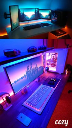 Source by meryemyamurzbakan Computer Gaming Room, Gaming Desk Setup, Computer Setup, Gaming Rooms, Bedroom Setup, Video Game Rooms, Home Office Setup, Game Room Design, Gamer Room
