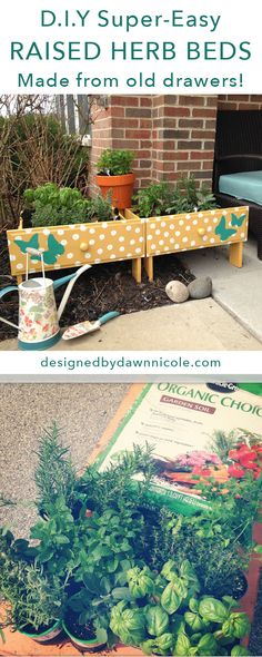 DIY Super-Easy Raised Herb Beds {from old drawers!}   bydawnnicole.com