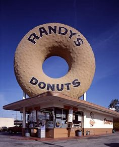 Randy's Donuts in Inglewood, California. The 24-hour drive-in is located at 805 West Manchester Boulevard where it intersects with La Cienega Boulevard, and is near the Manchester Boulevard off-ramp of the San Diego Freeway (I-405).