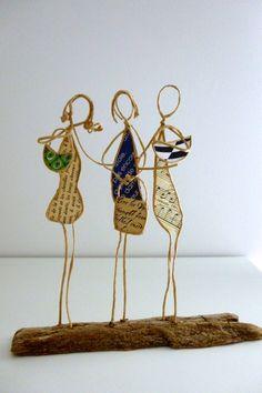Les amies - figurines en ficelle et papier