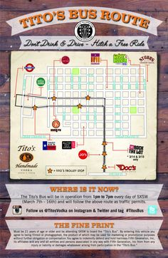 Introducing the 2014 SXSW Tito's custom Bus Route in Austin, Texas BUS MAP through 3/16