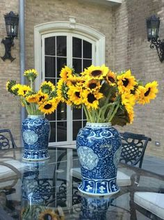 Sunflowers & blue willow