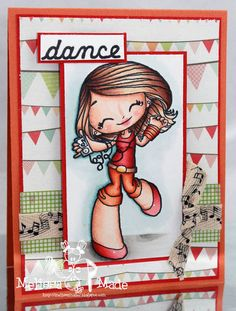 Copic card using the Some Odd Girl - Dancin Mae stamp.  Made by Melissa