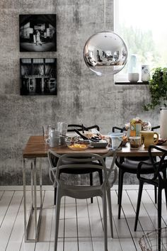 Rustic Dining Room combining two design classics: The kartel MAsters Chair & The Tom Dixon Mirror Ball Pendant in Chrome. Dining Room Design, Dining Area, Kitchen Dining, Dining Rooms, Dining Chairs, Dining Table, Masters Chair, Sweet Home, Grey Home Decor