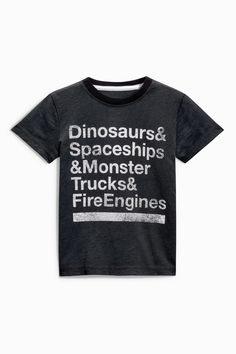 Buy Black Short Sleeve Dinosaurs Slogan T-Shirt (3mths-6yrs) from the Next UK online shop