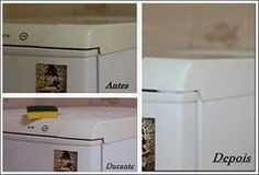 ◇◆◇ Como clarear a parte plástica da geladeira, máquina de lavar, micro ondas, etc. .. Misturar: 300ml água oxigenada (vol 40) 01 colher (sopa) vanish em pó.  Limpe a parte que vai ser tratada com água morna. Misture a água oxigenada com o vanish (não esqueça de usar luvas) e com a ajuda de uma esponja macia esfregue a mistura por toda a parte amarela (a parte que você quer clarear).