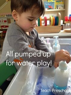 If you want to keep a group or even one child engaged in an activity then pull out the water table or water tub and get ready to get all pumped up for water play! Why we Chose this Experience Before telling you about this water play Sensory Tubs, Sensory Activities, Sensory Play, Preschool Activities, Sensory Bottles, Indoor Activities, Summer Activities, Family Activities, Preschool Science