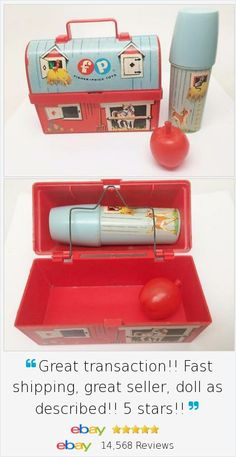 What a fun vintage find! Fisher Price 1962 Vtg Red Barn Lunchbox 549 Thermos Apple Toy Lunch Kit 3 pc Lot