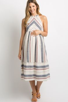 df323dead0dd Beige Multi Striped Halter Midi Dress Pancia In Gravidanza