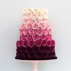 Ombre Rose Wedding Cake