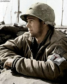 American medic in Anzio, Italy 1944. A 45th infantry div patch is on his jacket.