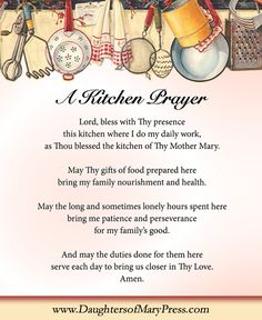 A Kitchen Prayer found in the Sisters' Angel Cookbook  #DaughtersofMaryPress #DaughtersofMary