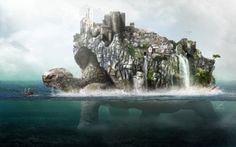 images of homes on the ocean | water ocean houses ships turtles buildings boats digital art splitview ...