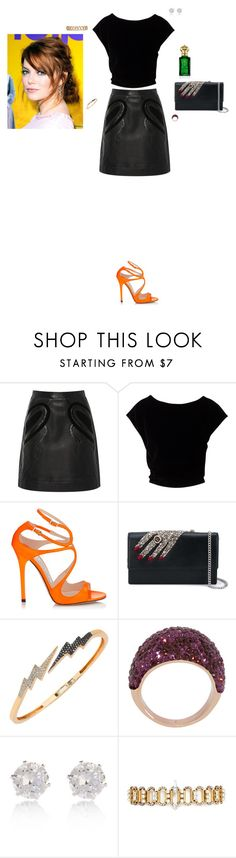 """""""Untitled #2511"""" by gracewirth101 ❤ liked on Polyvore featuring Elie Saab, Jimmy Choo, Alexander McQueen, Bee Goddess, Henri Bendel, River Island, Erickson Beamon and Clive Christian"""