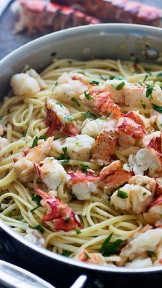 Easy Lobster Scampi with Linguini - 30 minutes to garlicky lobster heaven!