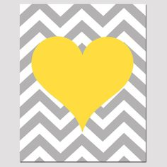Chevron Heart - 11x14 Print - Kids Wall Art For Nursery or Playroom - Choose Your Colors - Shown in Yellow, Gray, Pink, Aqua, and More. $25.00, via Etsy.