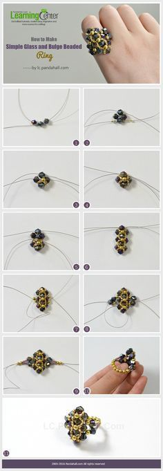 How to Make Simple Glass and Bulge Beaded Ring from LC.Pandahall.com