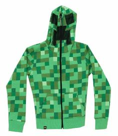 Amazon.com: Minecraft Creeper Premium Zip-up Youth Hoodie Green Youth Large: Clothing