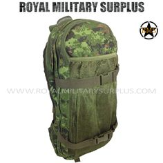 Hydration Pack - Water System - CADPAT (Temperate Woodland) |  CADPAT TW (Disruptive Camouflage Digital Pattern) Canada Armed Forces Camouflage - 4 Colors Made following Military Specifications 100% Military Nylon 2 Large Compartments (Zippers) 1 Inside Pocket/Net/Holder (Zippers) MOLLE System Compatible (8 Loops Capacity) Water Reservoir & Alimentation Tubes Included High-Capacity Reservoir (3 Liters/96 Onces) http://royalmilitarysurplus.com/Backpacks-Bags_c7.htm