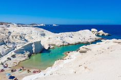 Sarakiniko Beach, Milos Island, Cyclades, Greece Stock Image - Image of bright, mediterranean: 51451873 Into The Wild, Cool Places To Visit, Places To Travel, Sarakiniko Beach, Best Greek Islands, Greece Islands, Snorkel, Europe, Most Beautiful Beaches