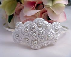 White Wedding Hairband. Soutache and beads by MollyG Designs. Bridal accessory, party or prom.