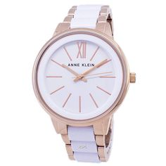 Features:  Rose Gold Tone Stainless Steel Two Tone Alloy Bracelet White Resin Center Links Quartz Movement Mineral Crystal White Dial Analog Display Pull Switch / Crown Fixed Case Back Deployment Clasp 30M Waterproof  Estimated case diameter: 37mm Estimated case thickness: 9mm Anne Klein Watch, Stainless Steel Case, Michael Kors Watch, Quartz, Rose Gold, Crown, Watches, Crystals, Mineral