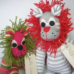 Sock animal sock lion sock monkey soft plush toy by lostsockshome, $27.00