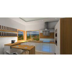 Nowoczesna kuchnia biała z drewnem, okno narożne, szafki białe, blat drewniany, blat wysuwany z szafki Corner Desk, Furniture, Design, Home Decor, Corner Table, Decoration Home, Room Decor, Home Furnishings